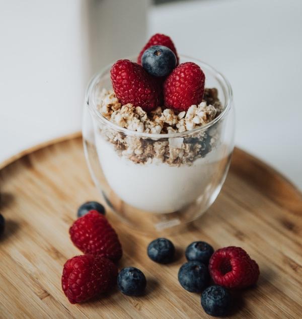 Probiotics are found in yoghurt. Healthy yoghurt breakfast with probiotics are good for gut health.